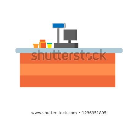 Empty Seller Counter and Desktop of Cashier Vector Stock photo © robuart