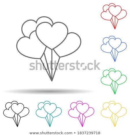 Happy Valentines Day, red, pink and orange balloon in form of heart with ribbon vector image stock photo © olehsvetiukha