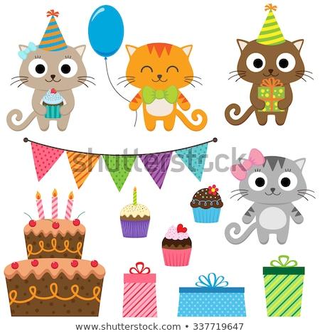 çocuk kız kedi doğum günü pastası renkli örnek Stok fotoğraf © lenm