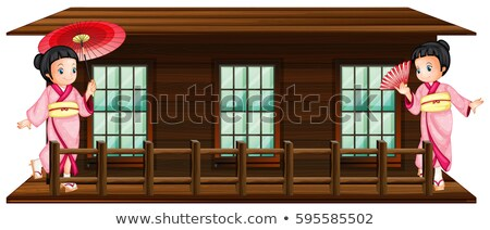 Two japanese girls at wooden hut Stock photo © colematt