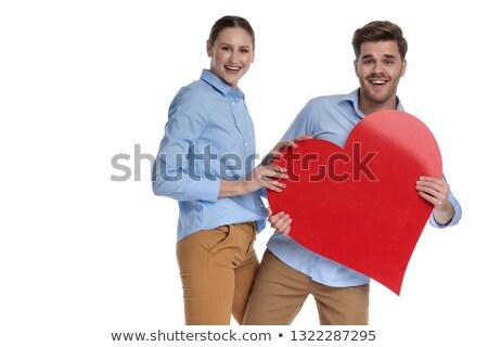 Nevet fiatal pér osztás nagy piros szív Stock fotó © feedough