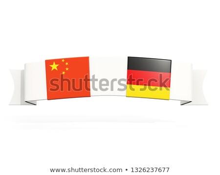 Afiş iki kare bayraklar Çin Almanya Stok fotoğraf © MikhailMishchenko