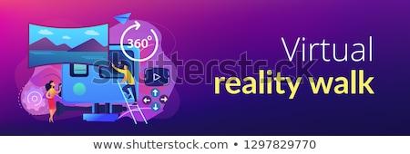 Virtuális turné szalag fejléc üzletemberek valóság Stock fotó © RAStudio