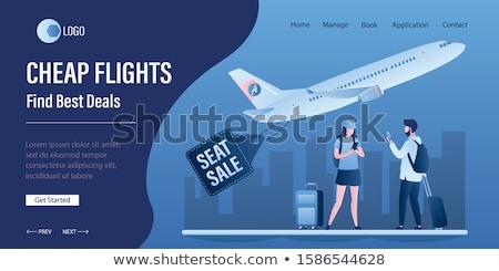 Olcsó repülőjáratok vektor leszállás oldal sablon Stock fotó © RAStudio