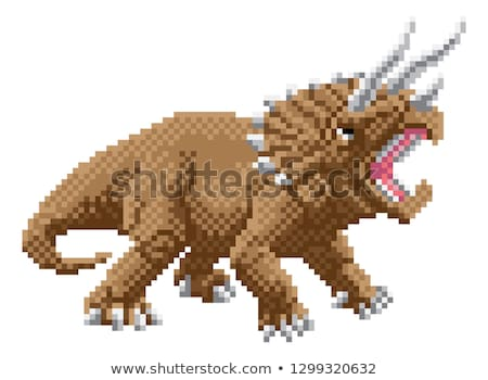 Dinosaur Triceratops Pixel Art Arcade Game Cartoon Stock photo © Krisdog