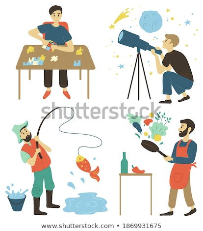 Cooking and Fishing Hobby of Men Pastime Vector Stock photo © robuart