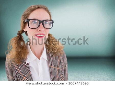 Close up of nerd woman in green room Stock photo © wavebreak_media