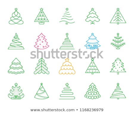 Foto stock: December Holiday Symbols Colorful Linear Icons Set