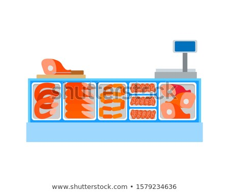 Seller Counter Full of Butchery Food Products Meat Stock photo © robuart
