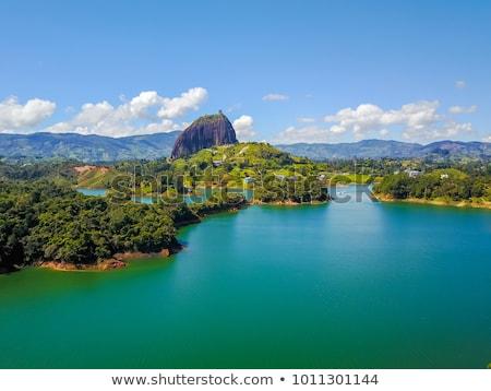 Tó Colombia légifelvétel tájkép zöld kék Stock fotó © boggy