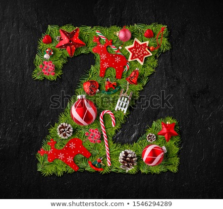 Letter Z made of Christmas tree ornaments Stock photo © grafvision