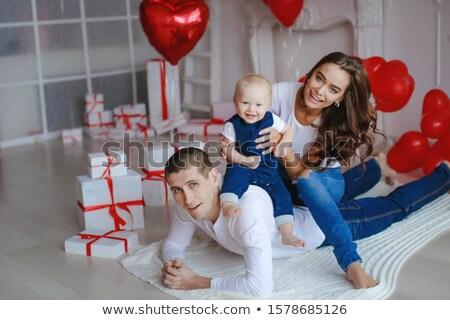 Gelukkig gezin weinig baby jongens feestelijk atmosfeer Stockfoto © ElenaBatkova