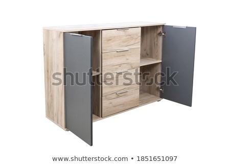 Fa ruhásszekrény izolált fehér ajtók ajtó Stock fotó © magraphics