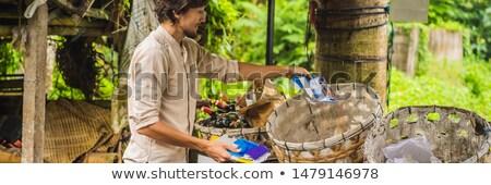 Man separately picks up trash. Separate garbage collection concept BANNER, LONG FORMAT Stock photo © galitskaya