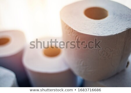 Coronavirus pandemic panic, crisis shopping concept. Toilet paper stacked rolls Stock photo © Illia