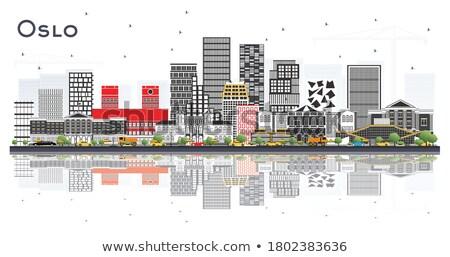 オスロ スカイライン グレー 建物 青空 音楽 ストックフォト © ShustrikS