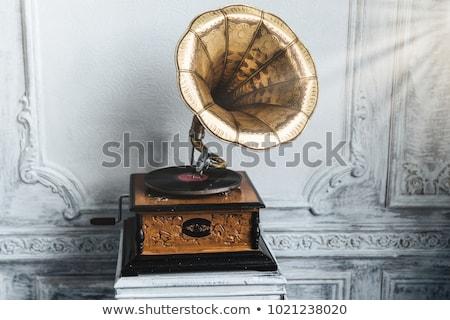 Oude platenspeler oude houten muur antieke Stockfoto © vkstudio