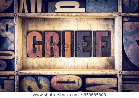 Verdriet vintage houten type woord Stockfoto © enterlinedesign