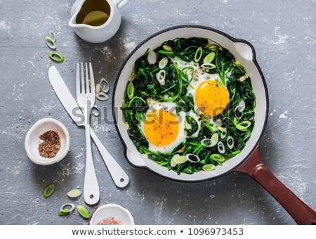 ストックフォト: 卵 · リーキ · ニンニク · 孤立した · 白 · 食品