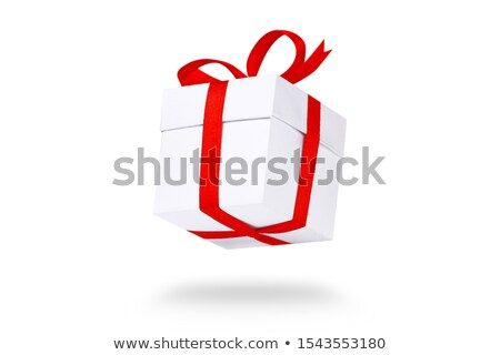 Fényes fehér ajándék doboz bürokrácia íj izolált Stock fotó © evgeny89