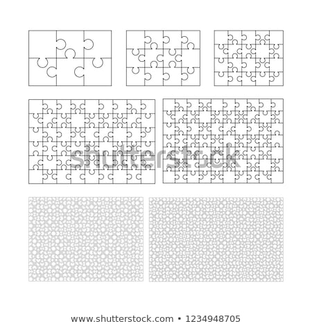 Large set of white puzzles pieces in rectangle shape. Jigsaw Puzzle template ready for print. Cuttin Stock photo © evgeny89