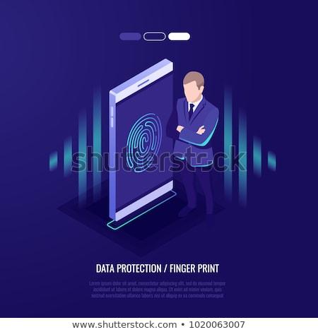 сканирование отпечатков пальцев телефон изометрический икона вектора Сток-фото © pikepicture