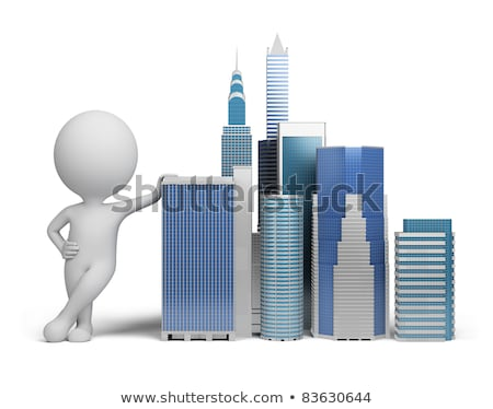 3d small people   skyscrapers stock photo © anatolym
