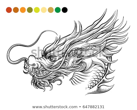 Black and white chinese dragon vector. Stock photo © cienpies
