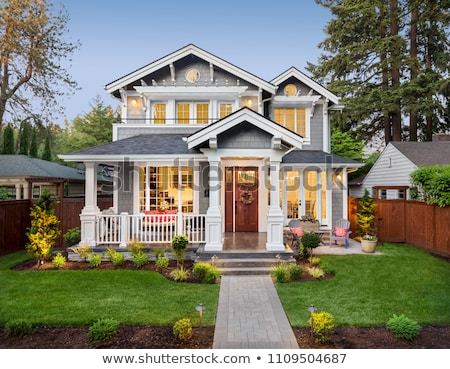 Stok fotoğraf: Manicured Home And Yard