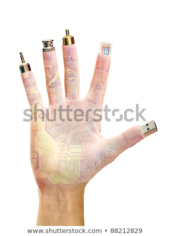 usb storage in hand on a white background isolated stock photo © acidgrey