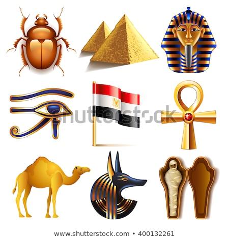 fáraó · szett · izolált · egyiptomi · sír · fehér - stock fotó © zakaz
