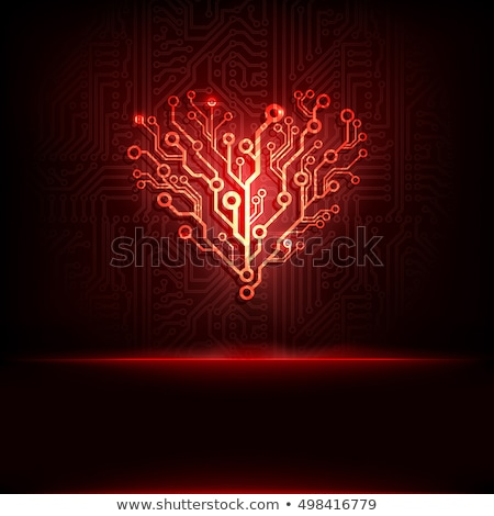 red heart and circuit board stock photo © devon
