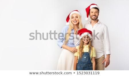 boldogság · család · karácsony · kalap · izolált · fehér - stock fotó © dacasdo