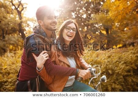 Stockfoto: Fiets · paardrijden · stad · park · dag