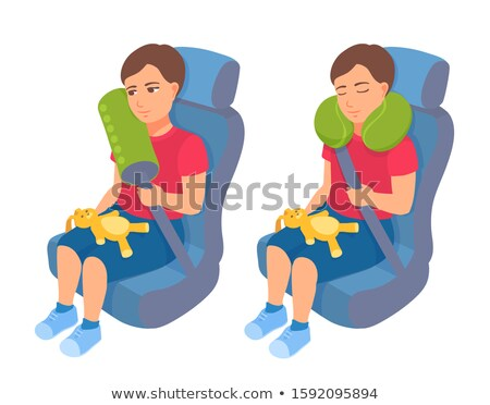 Litle boy sleeps in safe chair in car stock photo © pekour