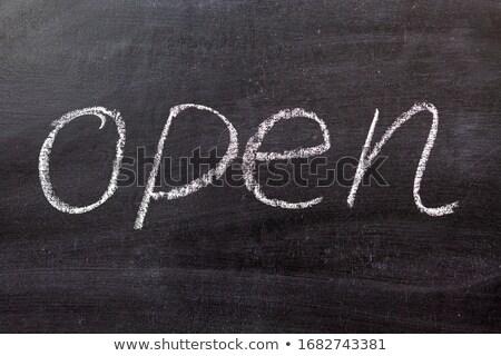 palavra · abrir · branco · giz · lousa - foto stock © nenovbrothers