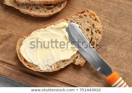 хлеб белый пшеницы черный завтрак вилка Сток-фото © fonzie26