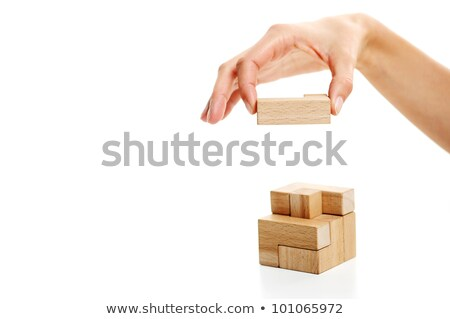 last woodden puzzle piece white background stock photo © stokkete