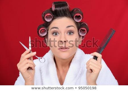 Frau Haar halten Schere Kamm Mädchen Stock foto © photography33
