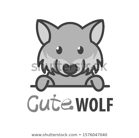 Smiling Cartoon Wolf Mascot Vector Graphic stock photo © chromaco