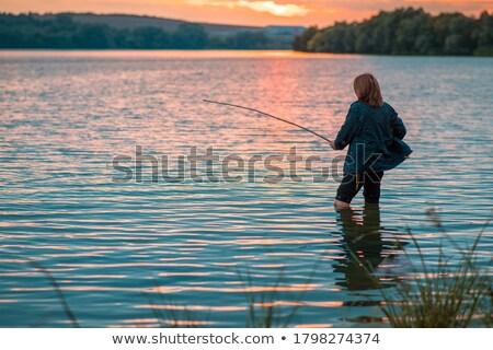 женщину · рыбалки · пруд · женщины · расслабиться · Hat - Сток-фото © petrmalyshev