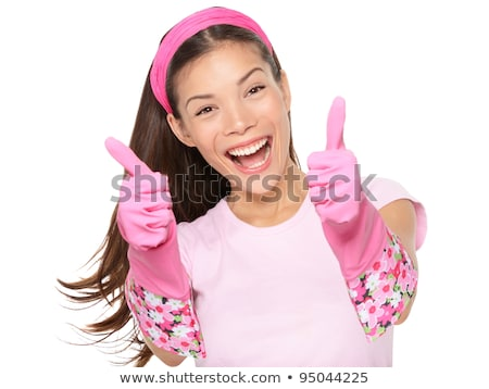 Foto stock: Cleaning Woman Thumbs Up Excited