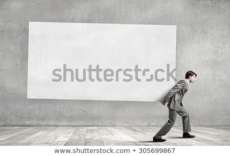 Homem conselho isolado branco papel Foto stock © ashumskiy