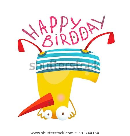 Feliz cumpleaños feliz granja aves animales jóvenes Foto stock © Paha_L