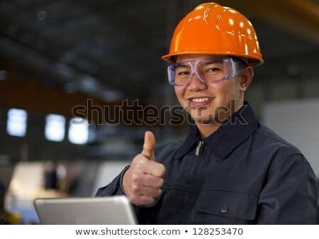 Engenheiro laptop construção empresário azul Foto stock © photography33