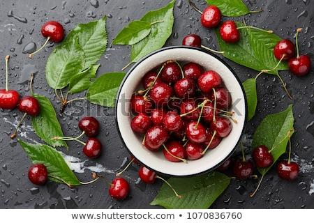 чаши свежие зрелый красный вишни сидят Сток-фото © klsbear