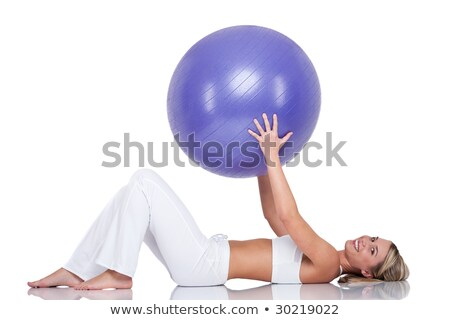 Fitness series - Smiling woman with purple ball Stock photo © CandyboxPhoto