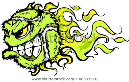 Tennis Ball Flaming Face Vector Image Stock foto © ChromaCo