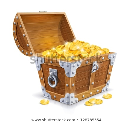 Stock photo: Sea pirate with sabre and big chest of treasures