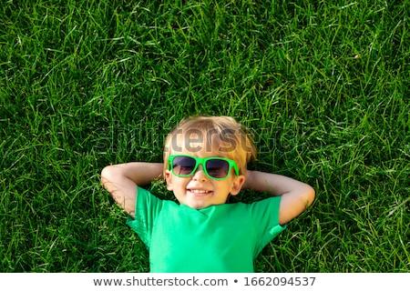 ストックフォト: 幸せ · 子供 · 緑の草 · 少年 · 少女 · 一緒に